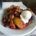 Peach and Blueberry Crisp with Ice Cream -- YUM!