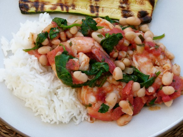 shrimp with tomatoes, white beans and spinach recipe | Pamela Salzman ...