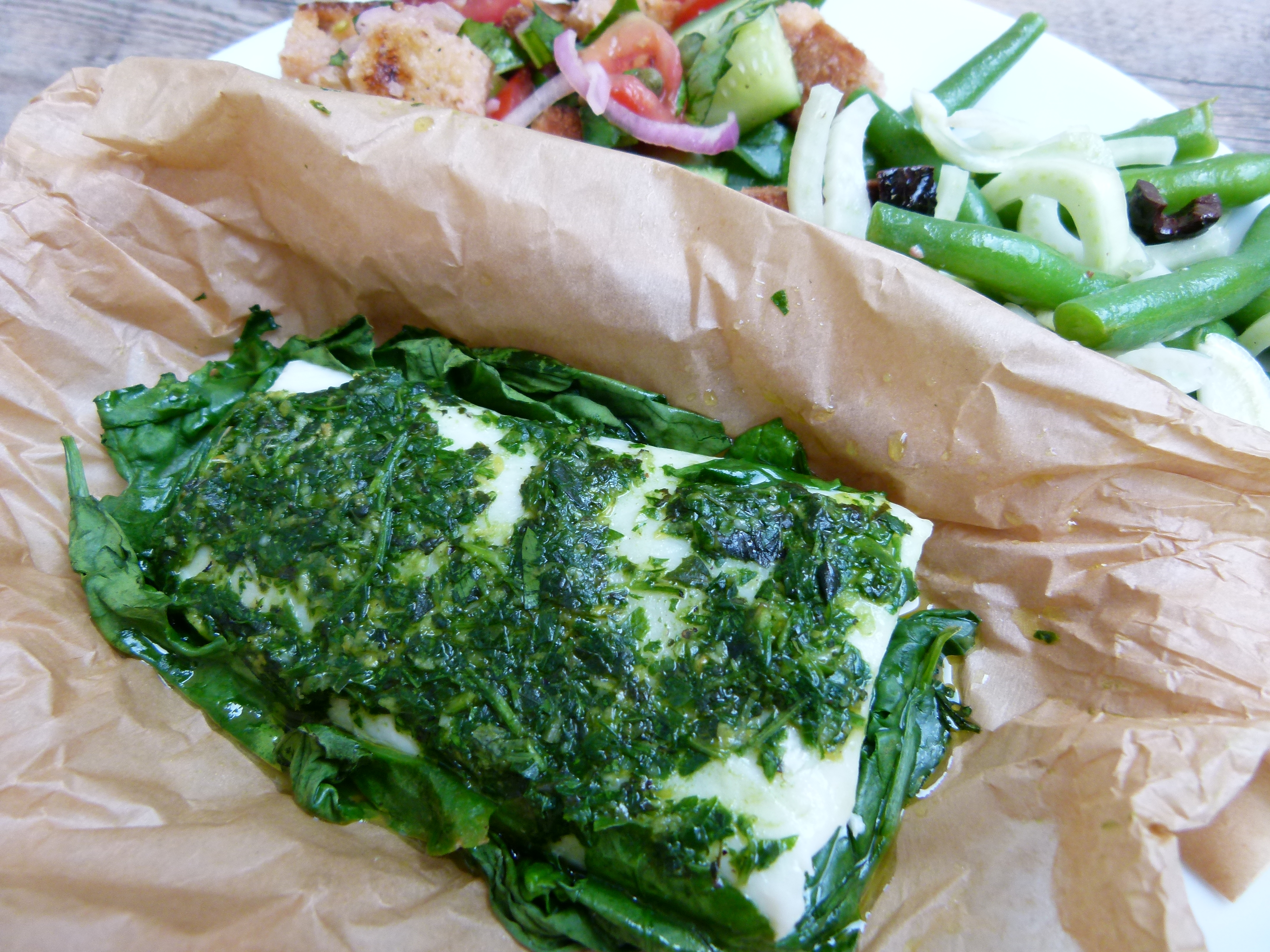 Wild fish in parchment with summer herbs recipe pamela for Fish in parchment recipes