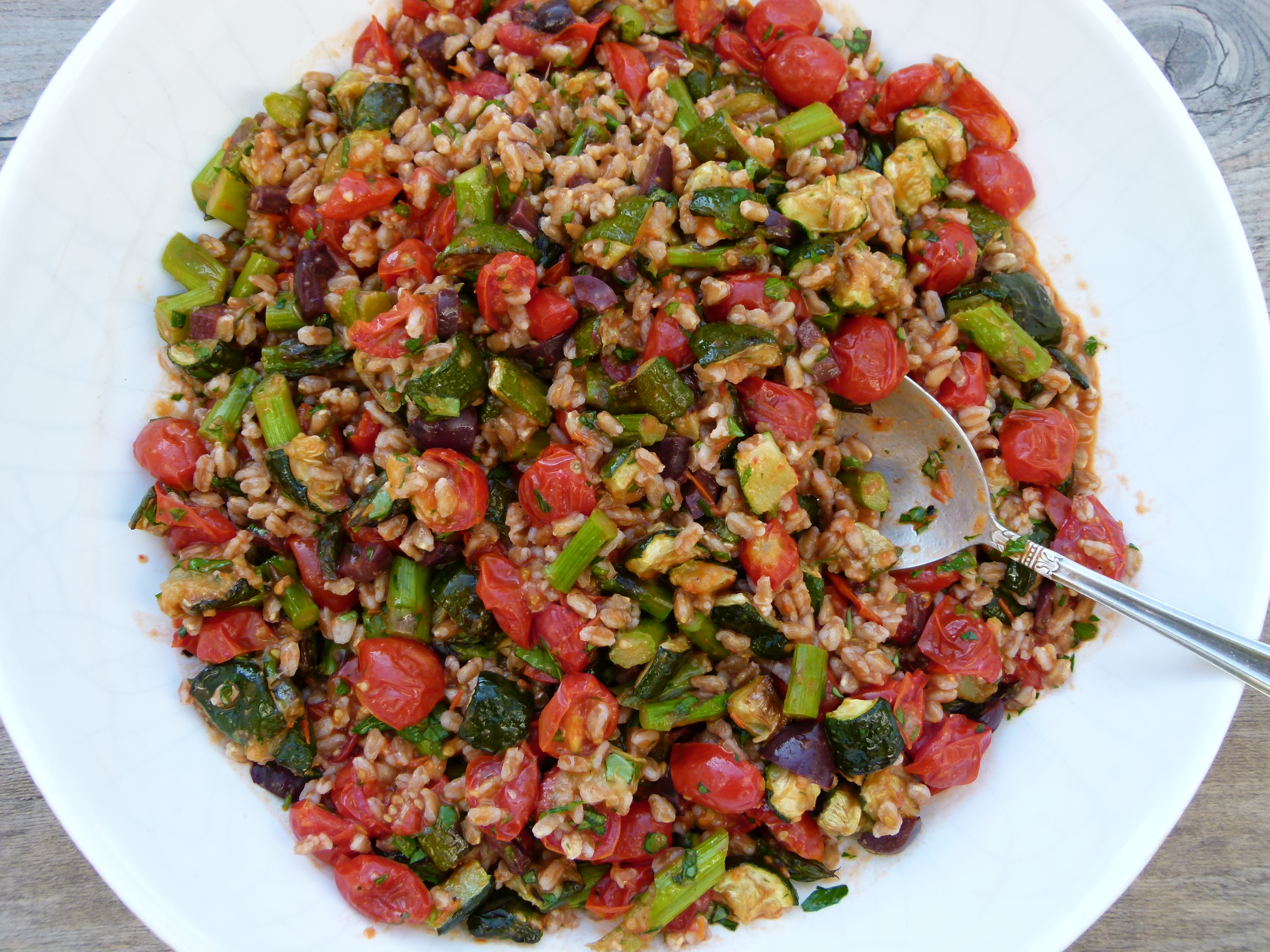 farro with roasted vegetables and roasted tomato dressing recipe ...