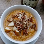 pumpkin oatmeal with pears, pecans and vanilla maple syrup