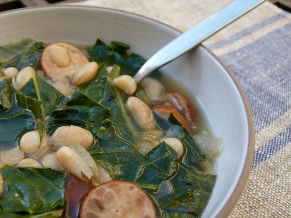 slow cooker white bean soup with sausage and collard greens recipe ...