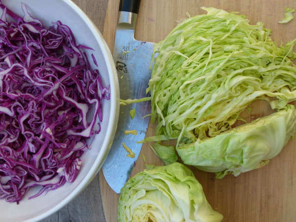thinly slice your cabbages
