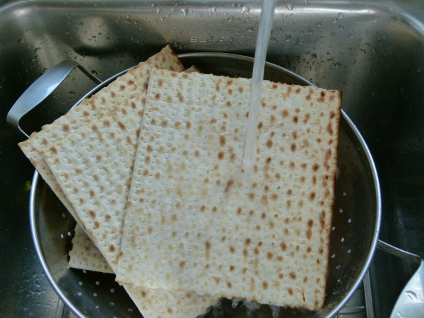 I like to soften the matzos a little by running some water over them.