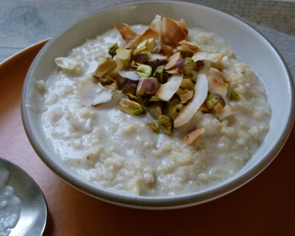 warm coconut millet porridge by Pamela Salzman