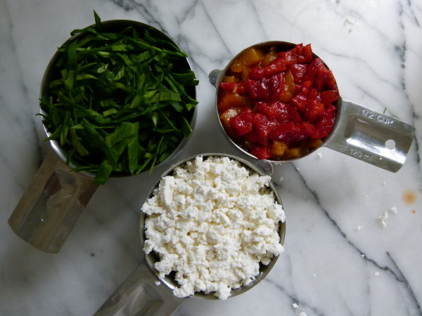 spinach, feta and roasted peppers