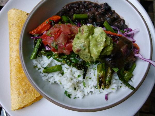 rice and bean burrito bowl