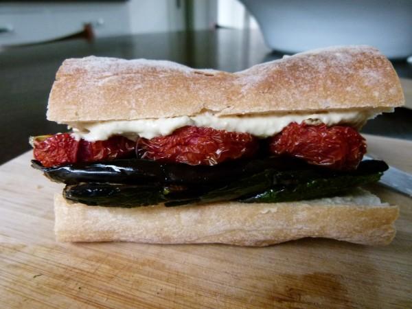 Grilled veggies, slow roasted tomatoes and hummus on baguette | pamela salzman