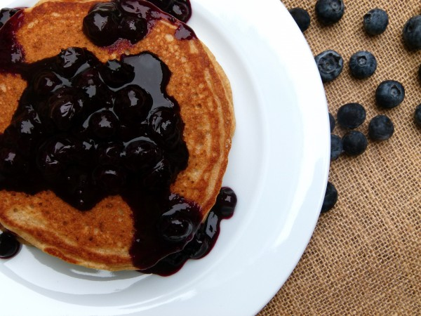 fresh blueberry sauce on pancakes | pamela salzman