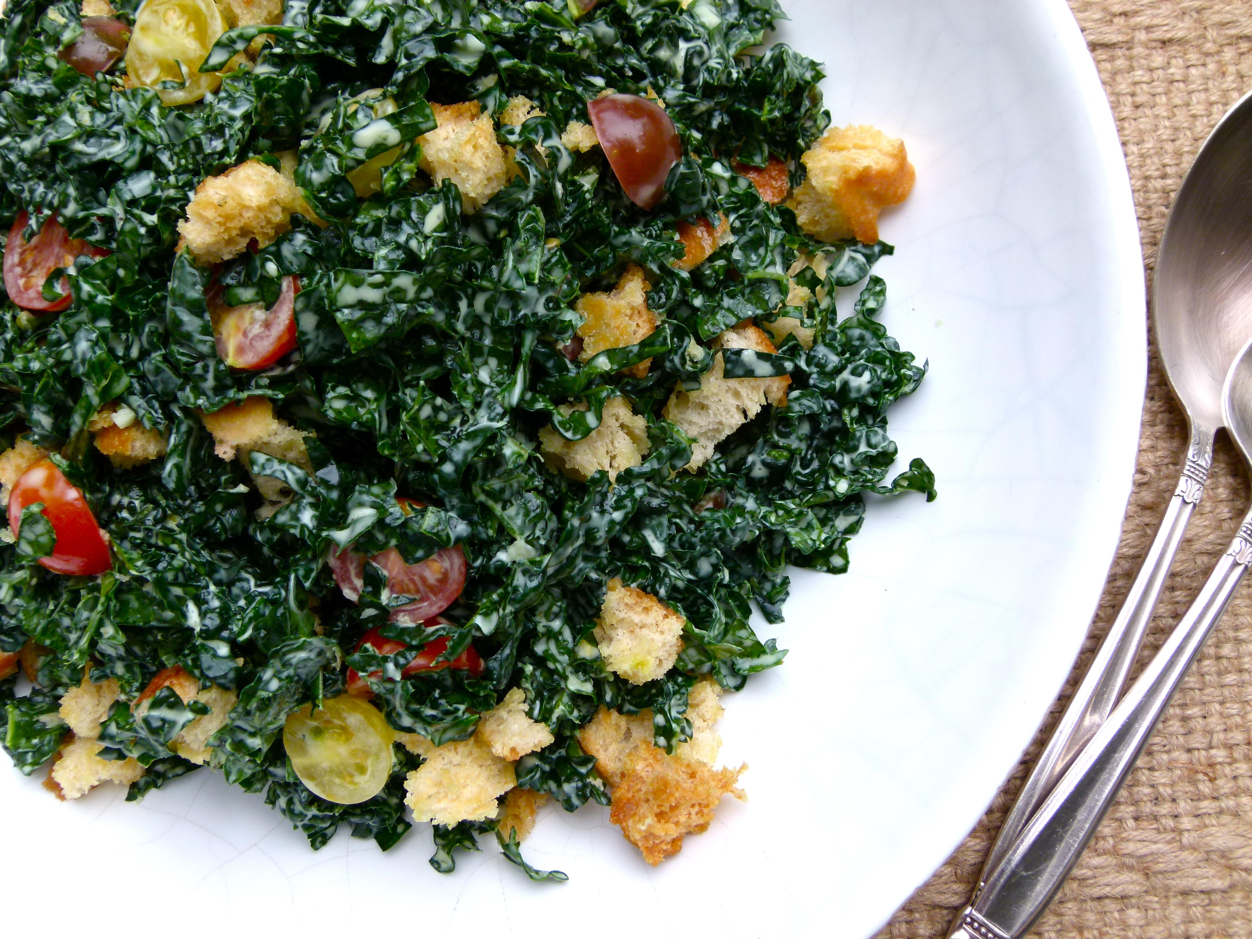 kale salad with creamy lemon dressing (dairy-free recipe) | Pamela ...
