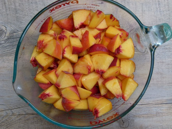 chopped and measured peaches