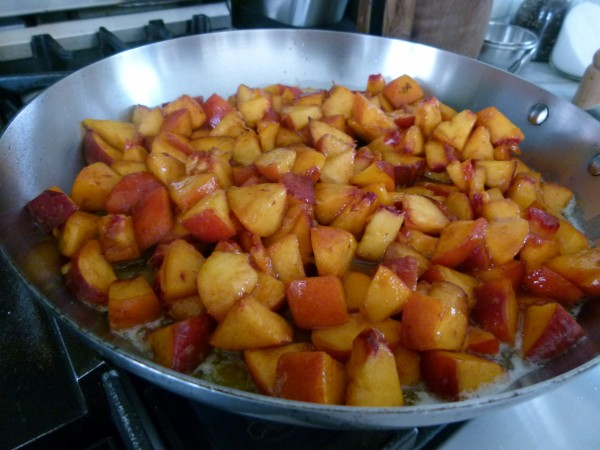 saute the peaches just until warm