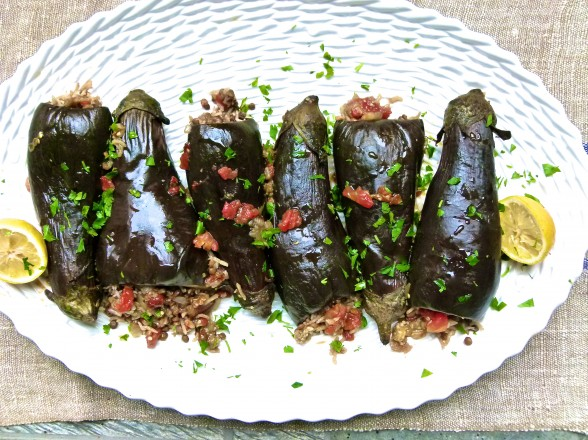 Lentil and Rice-Stuffed Baby Eggplants | Pamela Salzman