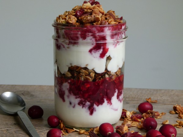 cranberry-yogurt-granola parfait | pamela salzman