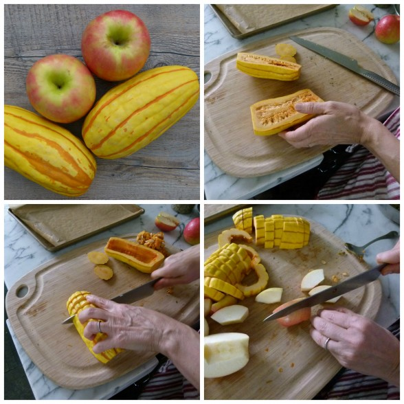 prepping delicata and apples