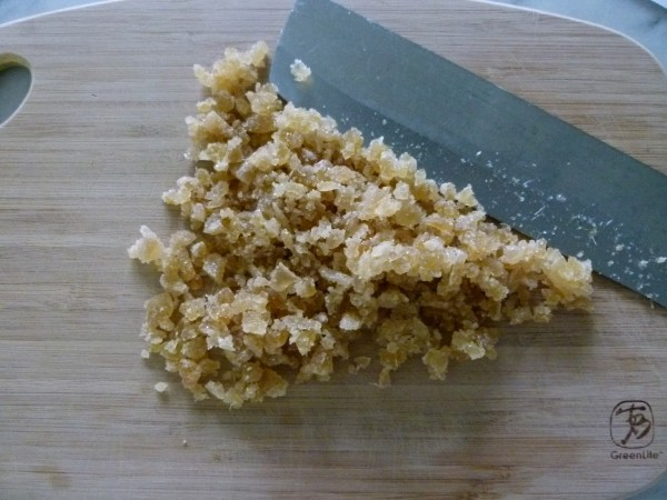 chopping crystallized ginger