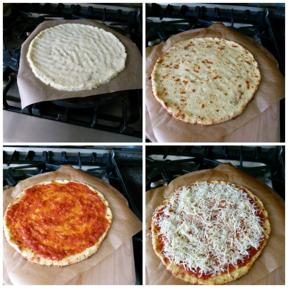 cauliflower crust pizza in the making