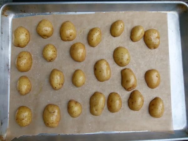 roast potato halves cut-side down