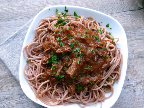 pasta with shredded grass-fed beef brisket | pamela salzman