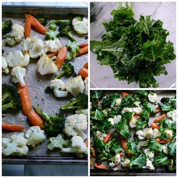 After you roast your vegetables, add kale and roast some more
