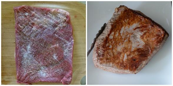 pat meat dry, season and sear