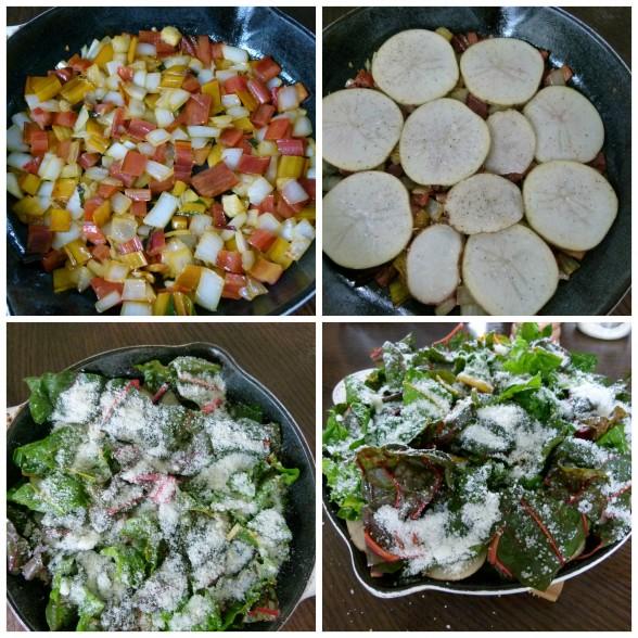layering onions, potatoes, chard leaves and Parmesan