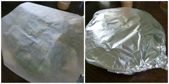cover first with parchment and then with aluminum