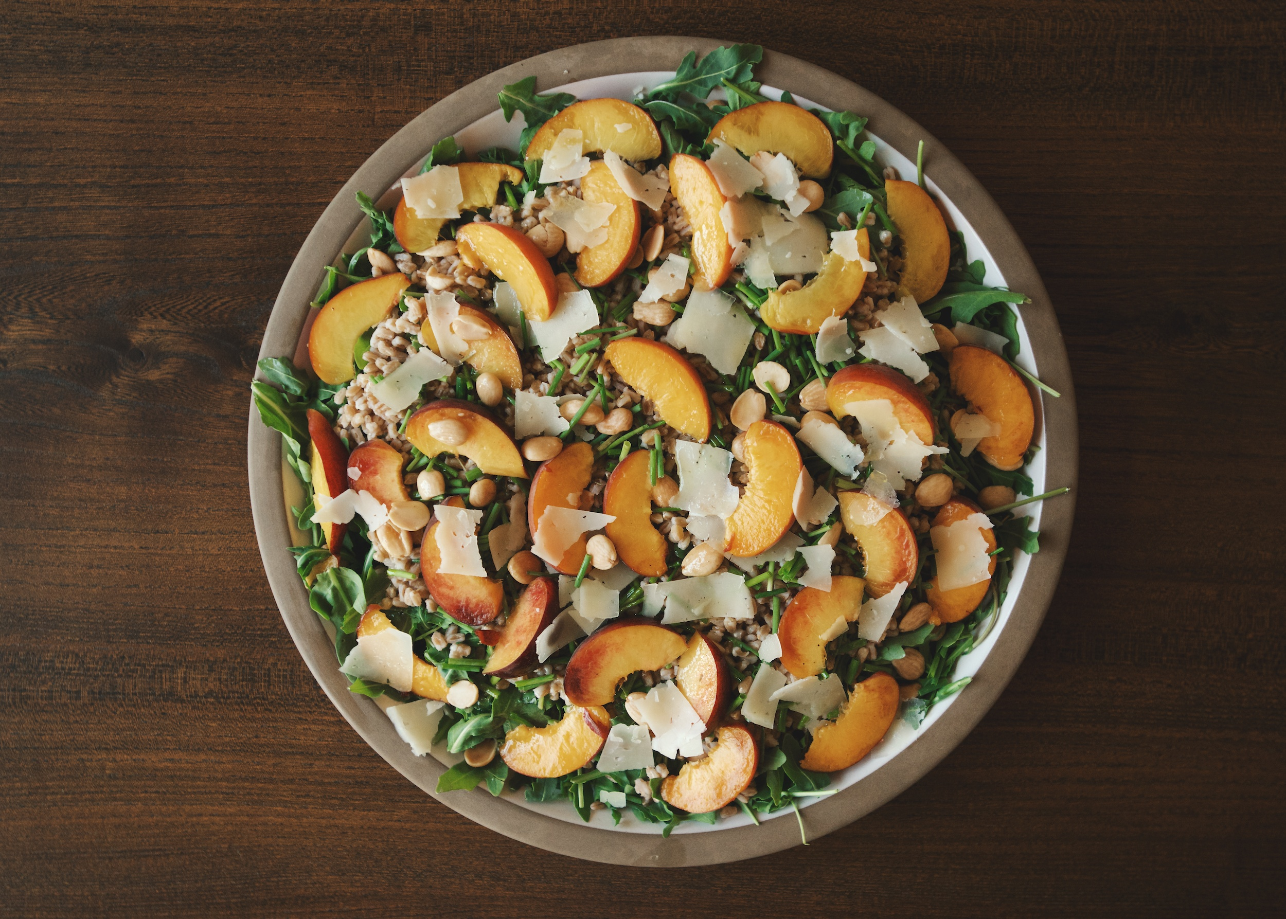Arugula and Farro Salad with Peaches Recipe | Pamela Salzman & Recipes