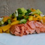 slow roasted salmon with mango-cucumber salsa