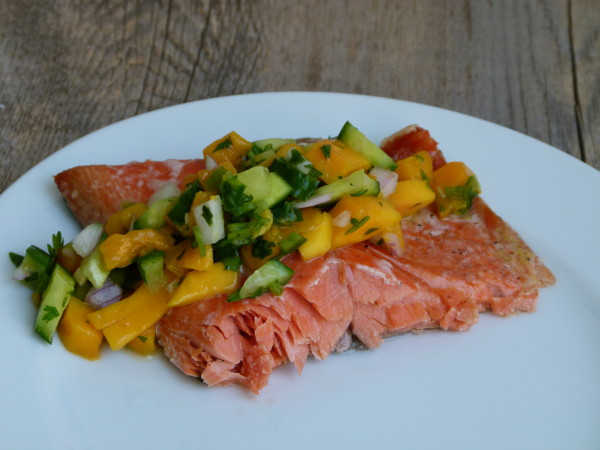 slow roasted wild salon with mango-cucumber salsa | pamela salzman