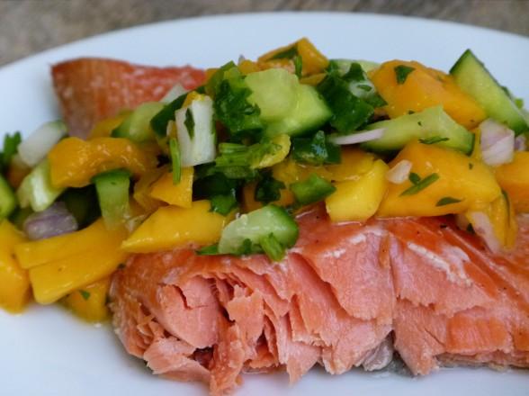 slow roasted wild salmon with mango-cucumber salsa