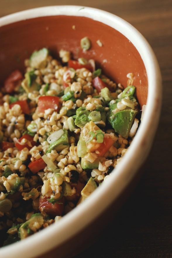 charred corn salad with tomatoes and avocado