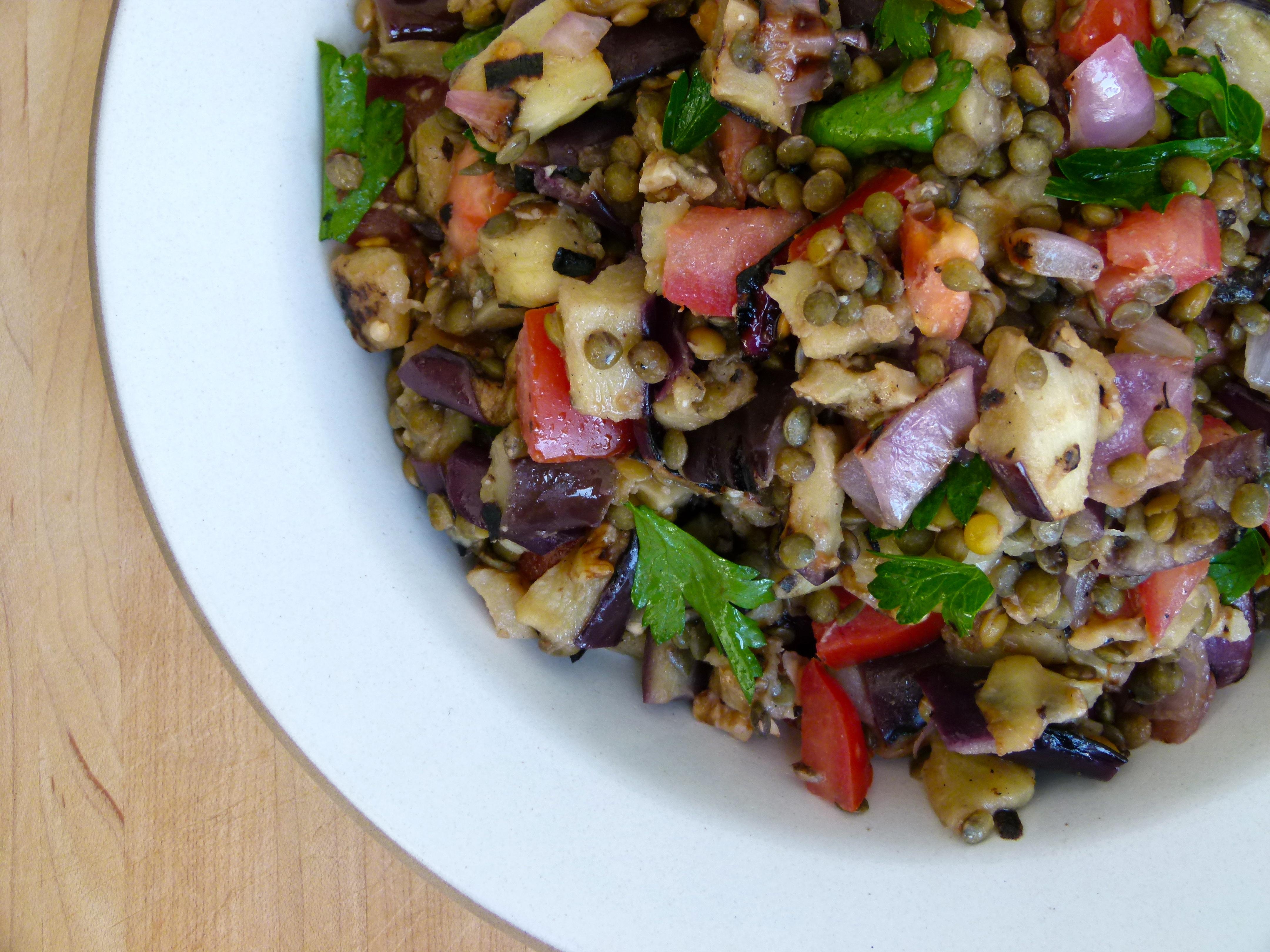 Lentil and Grilled Eggplant Salad