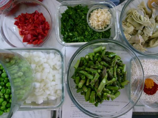 ingredients for vegetable paella