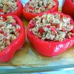 turkey and brown rice stuffed bell peppers