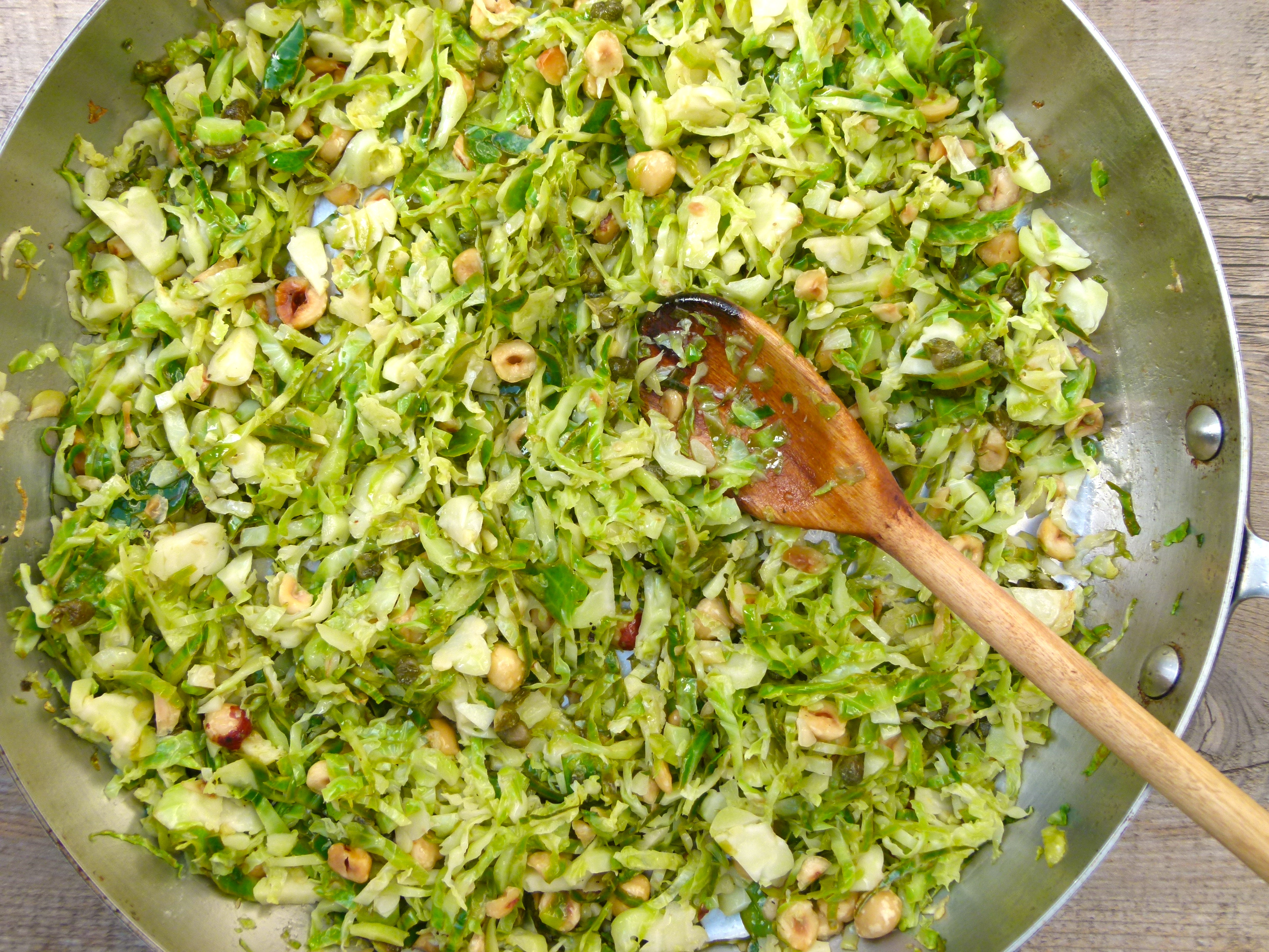 brussels sprout hash with lemon, hazelnuts and capers | pamela salzman