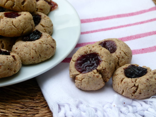 whole wheat-almond thumbprint cookies recipe (vegan)   Pamela Salzman ...