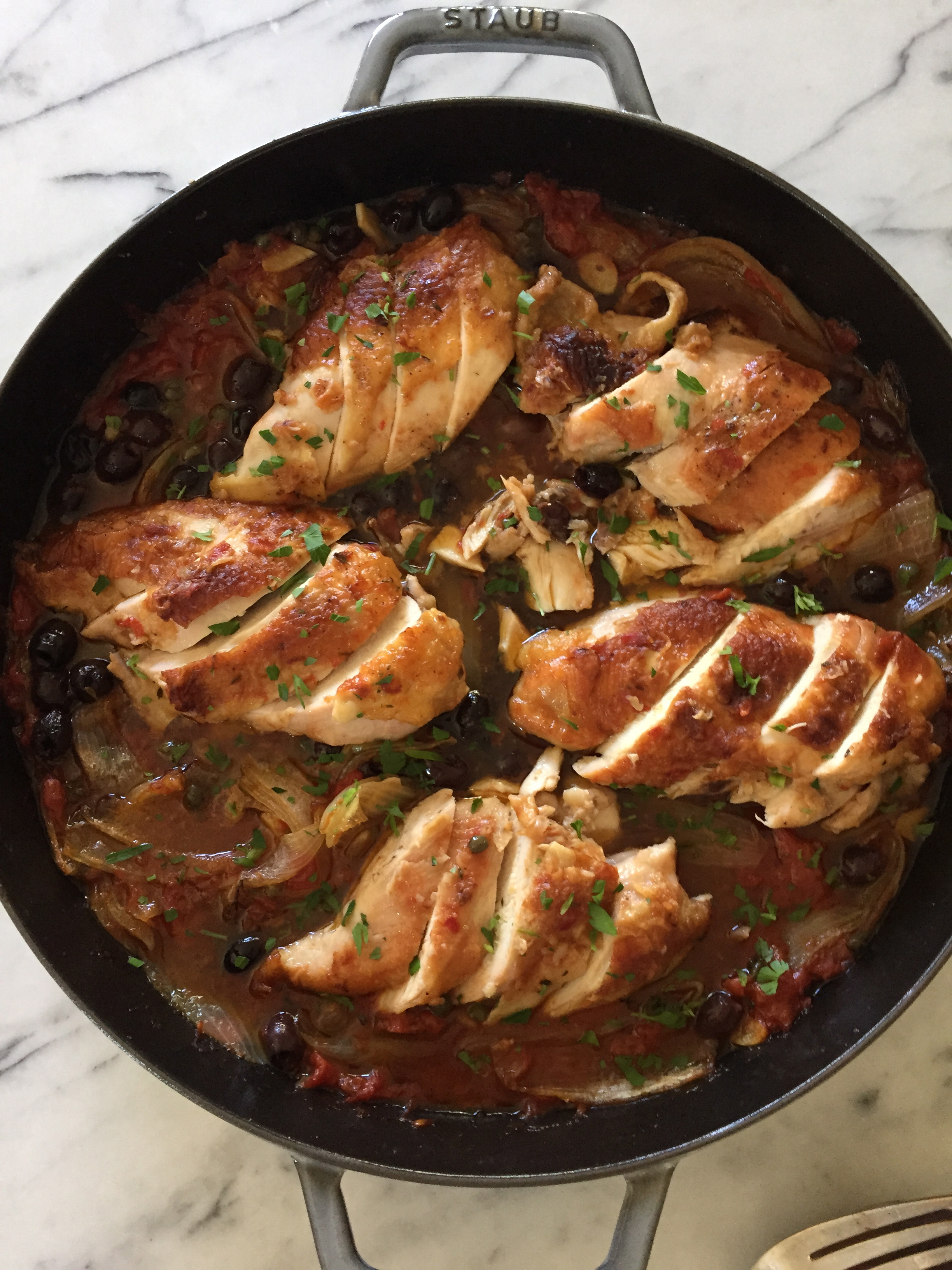 baked chicken with tomatoes, olives and capers | pamela salzman