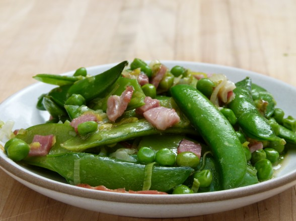 three pea sauté with (or without) turkey bacon recipe | Pamela ...
