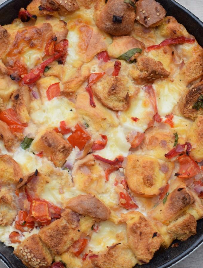 tomato, roasted pepper and basil strata recipe | pamela salzman