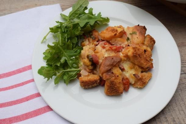 tomato, roasted pepper and basil strata | pamela salzman