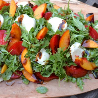 arugula, nectarine, tomato and fresh mozzarella salad | pamela salzman