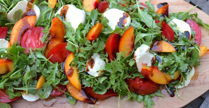 Arugula Salad with Nectarines, Tomatoes, and Fresh Mozzarella Recipe