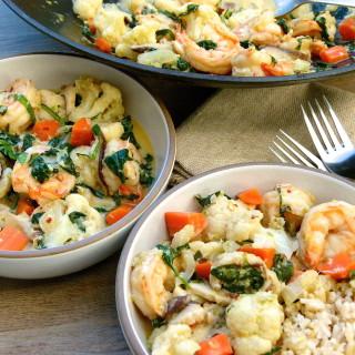 shrimp and vegetable stir fry with coconut-basil sauce | pamela salzman
