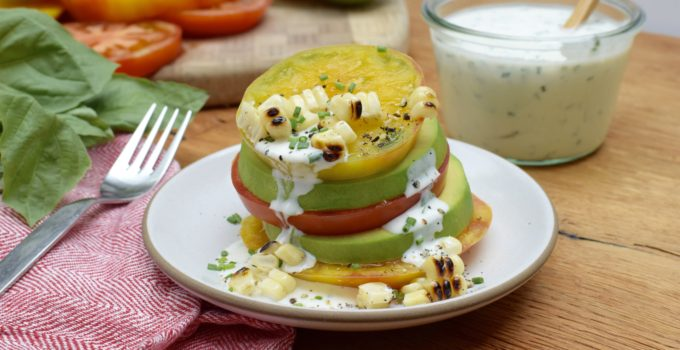 Tomato and Avocado Stacks with Ranch Dressing Recipe